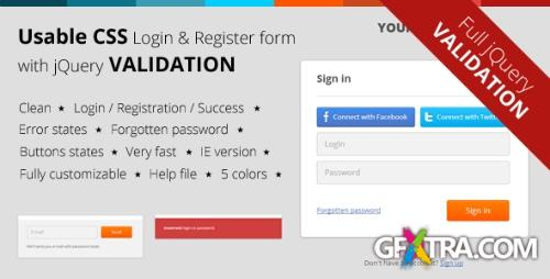 CodeCanyon - CSS Login & Register Form with jQuery Validation