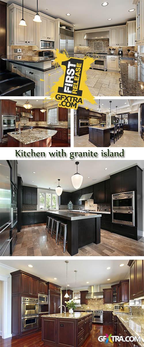 Stock Photo: Kitchen with granite island