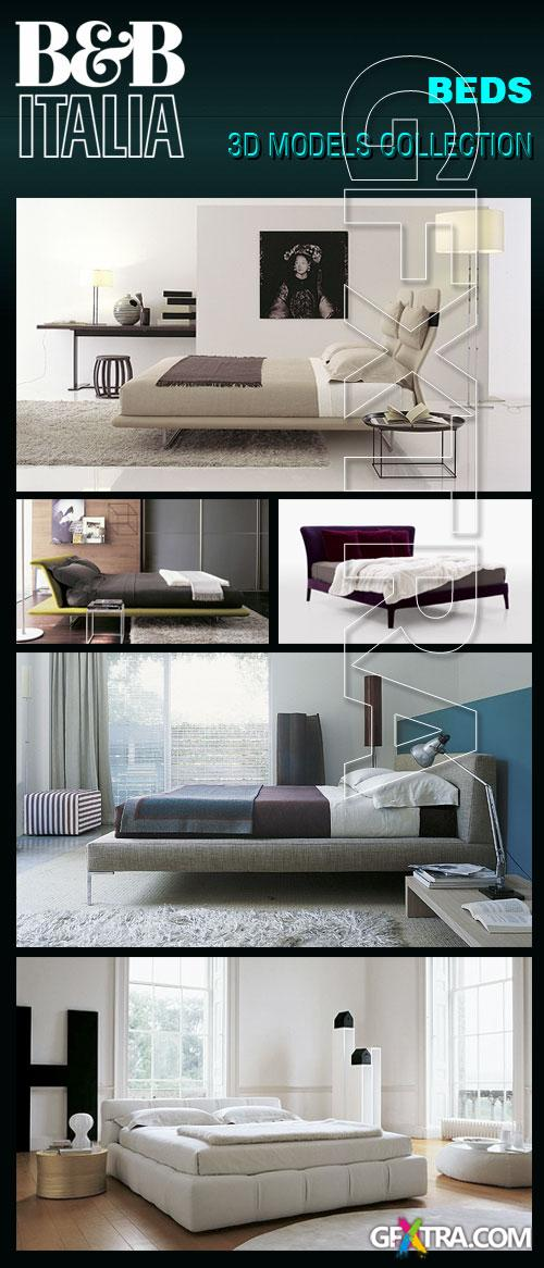 B&B Italia Furnitures - Beds 3D Model Collection