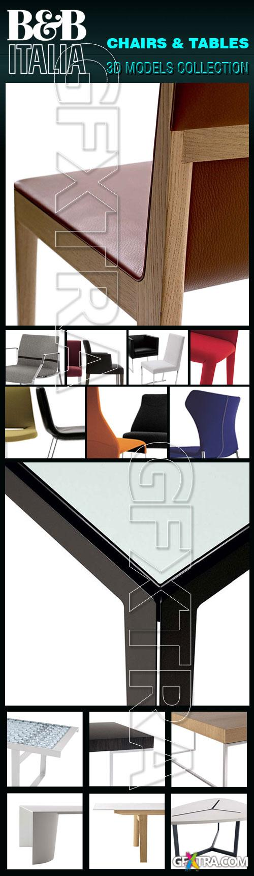 B&B Italia Furnitures - Tables, Chairs and Accessories 3D Model Collection