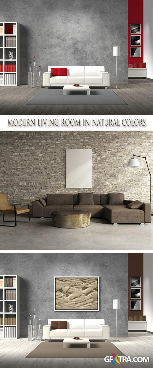 Stock Photo: Modern living room in natural colors