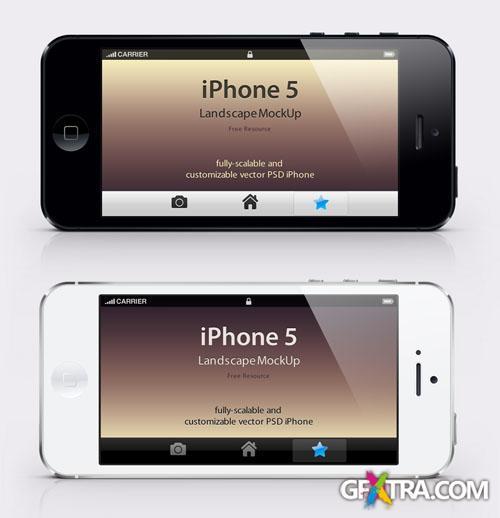 iPhone 5 Landscape Mockup PSD Template