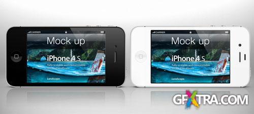 iPhone 4s Psd Landscape Mockup PSD Template