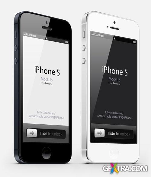 3D iPhone 5 Vector Mockup PSD Template #3