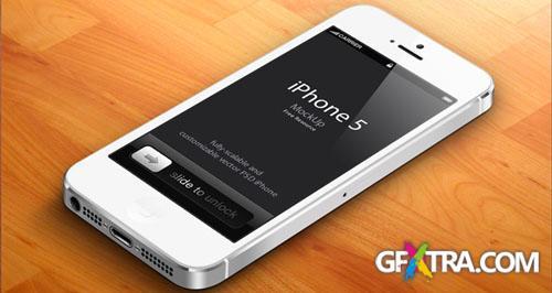 3D iPhone 5 Vector Mockup PSD Template #2