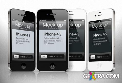 iPhone 4s Vector Mockup PSD Template