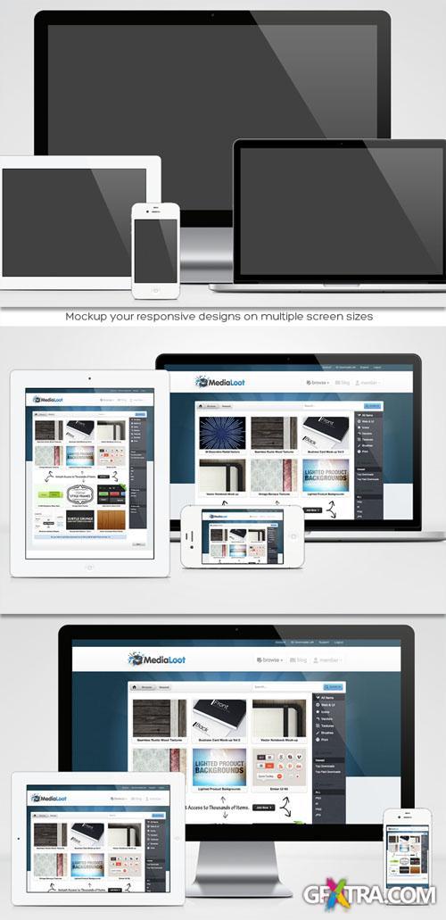 MediaLoot - Responsive Design Mock-up Pack