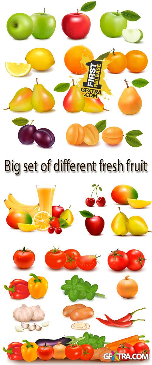 Stock: Big set of different fresh fruit and vegetables