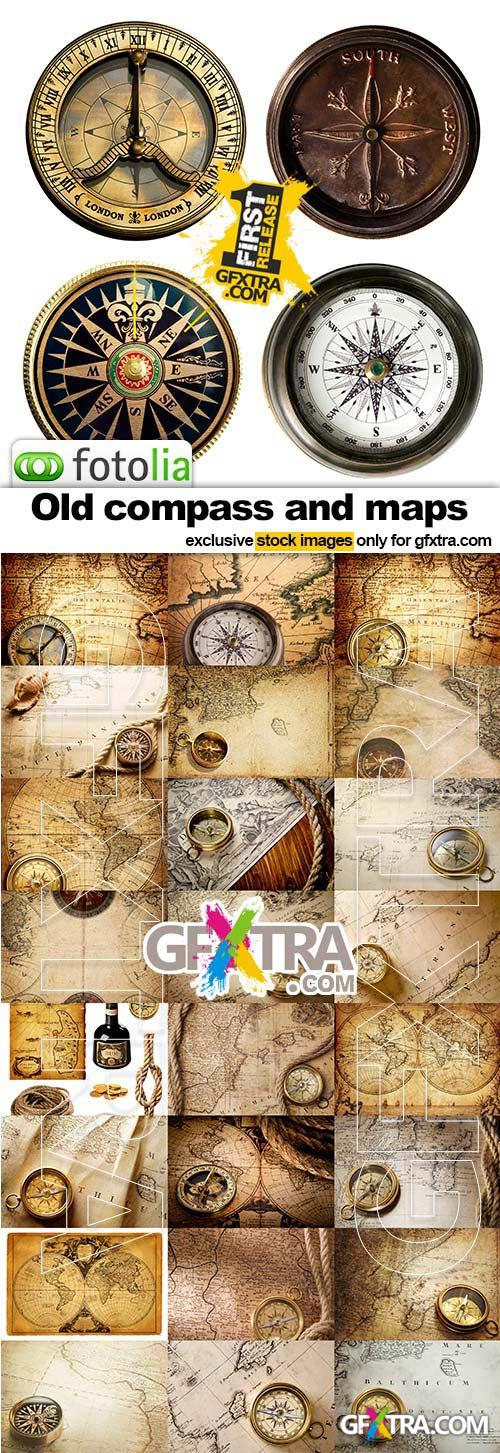 Old compass and maps - 25x JPEGs