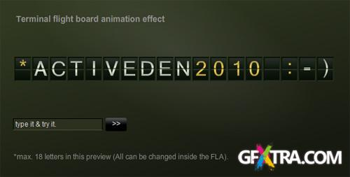 ActiveDen - Terminal flight board text animation effect