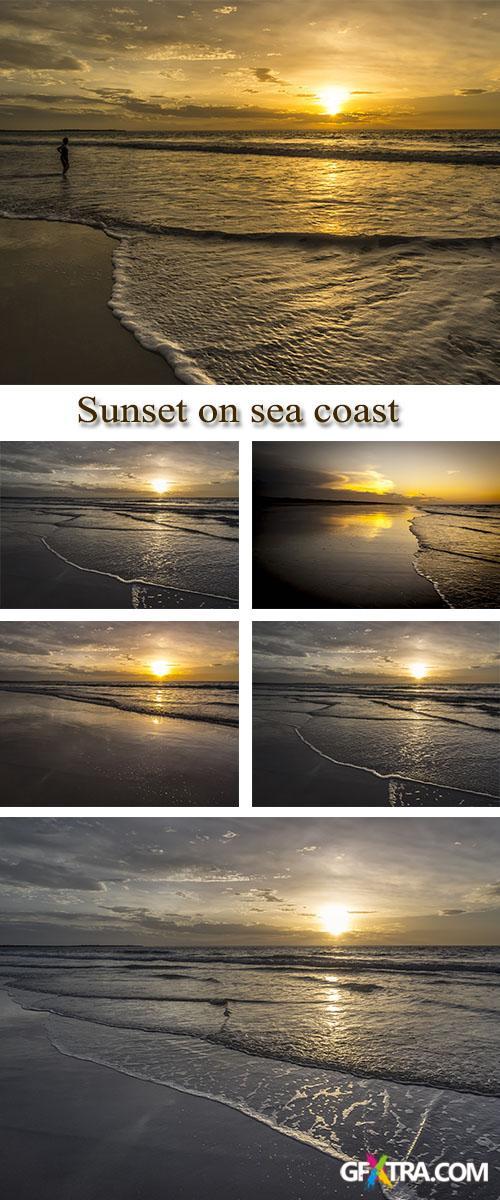 Stock Photo: Sunset on sea coast