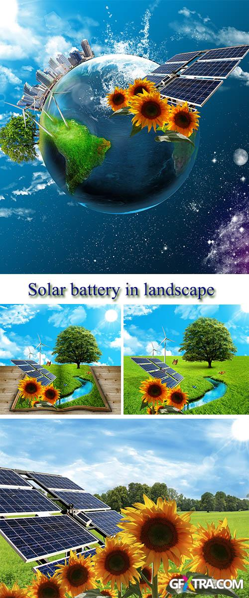Stock Photo: Solar battery in landscape and sunflowers