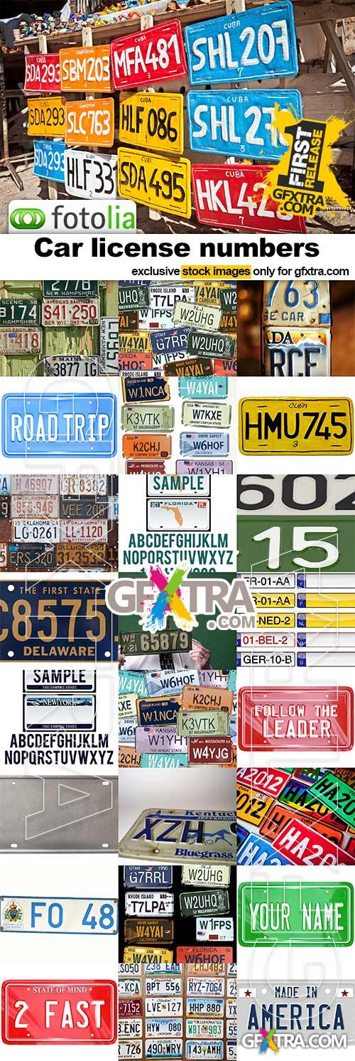 Car License numbers - 25x JPEGs and Vectors
