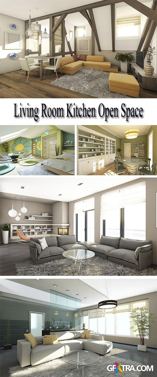 Stock Photo: Living Room Kitchen Open Space