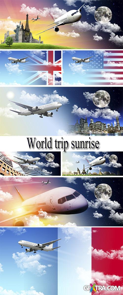 Stock Photo: World trip sunrise