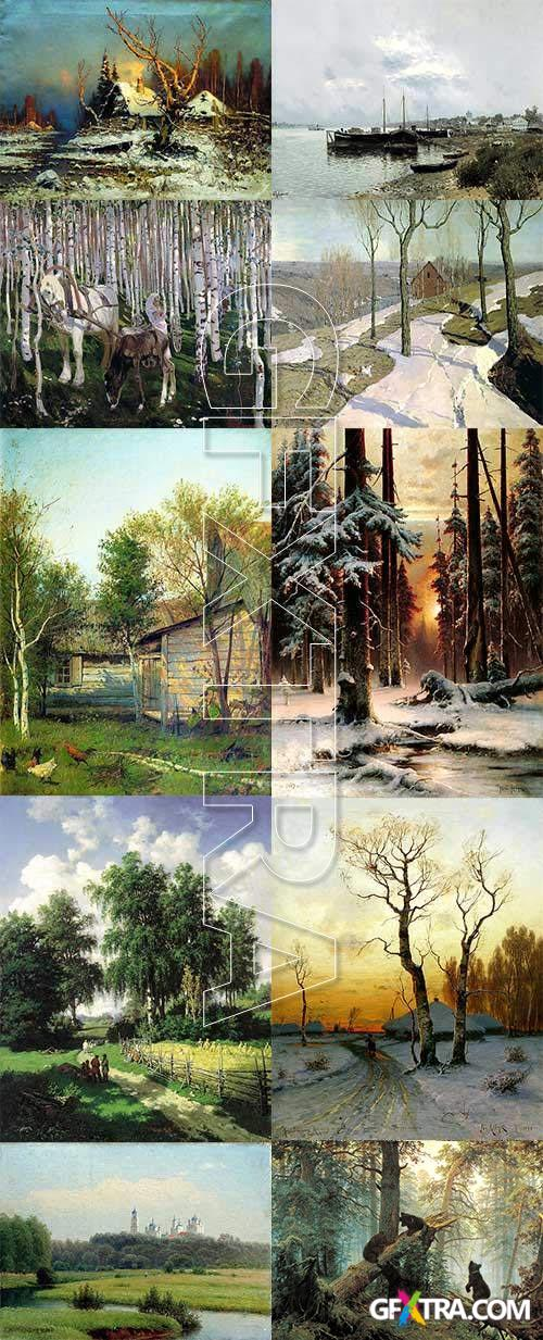 Natural landscapes on Canvases of Russian Artists, 139 Paintings HQ