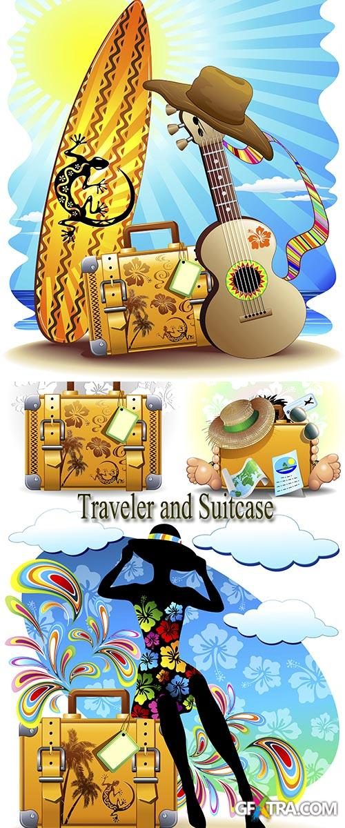 Stock: Traveler and Suitcase