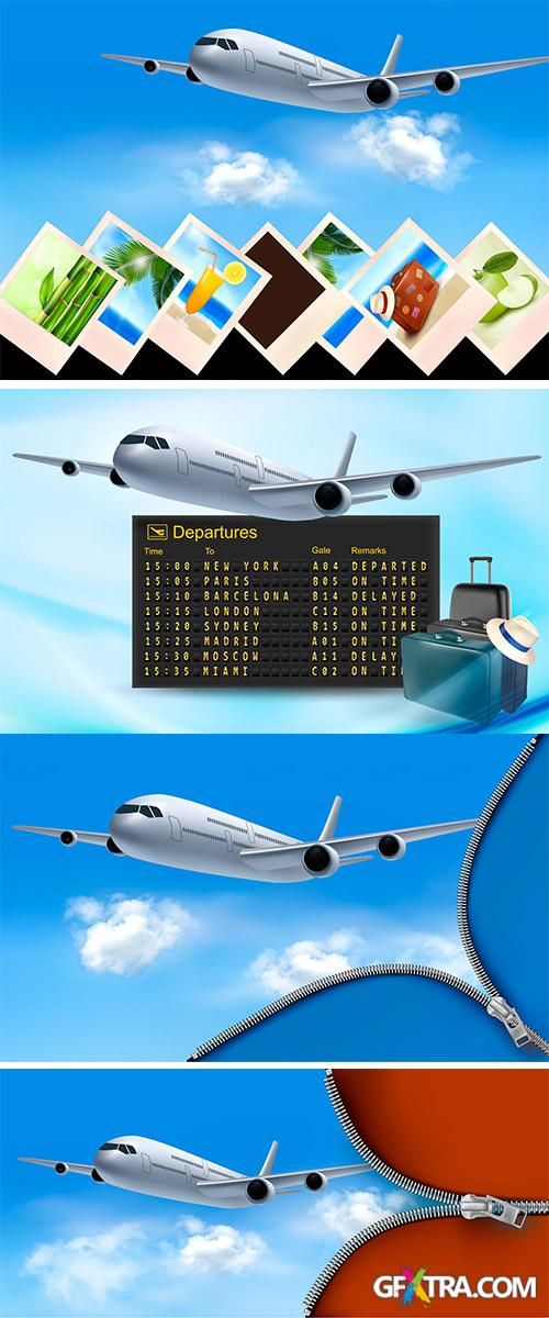 Stock: Travel background with airplane