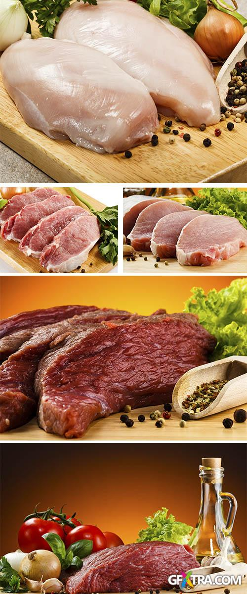 Stock Photo: Raw beef on cutting board and vegetables