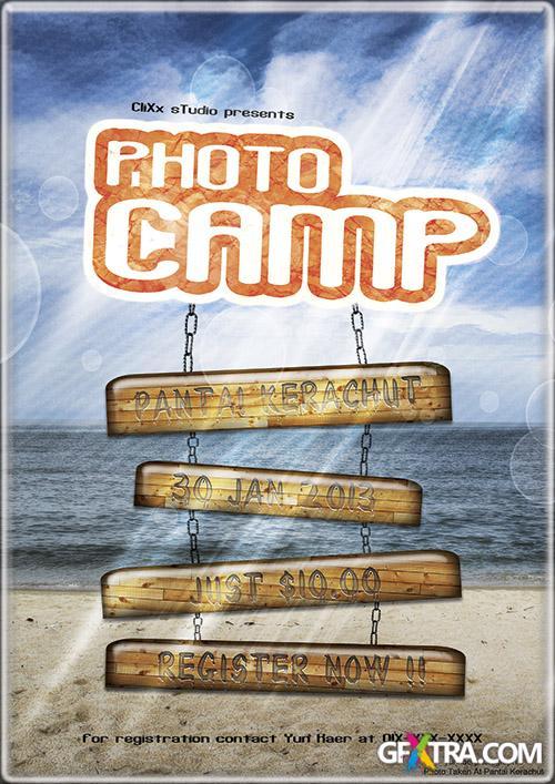 PSD Source - Beach Photo Camp Flyer