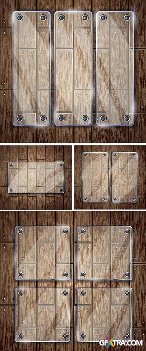 Stock: Glass frame on wooden texture