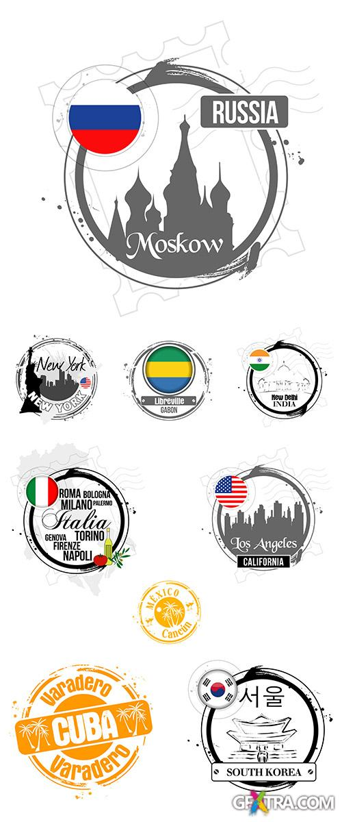 Stock: Round emblems of cities of the world, silhouettes of sights, vector