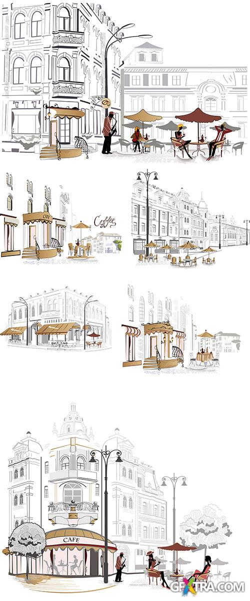 Stock: Series of street cafe in sketches