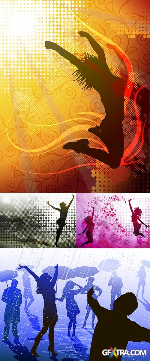 Stock: Background with jumping girls