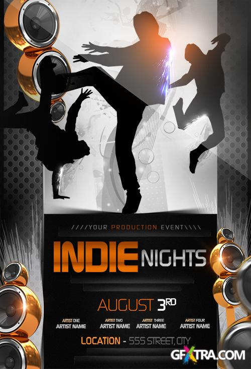 PSD Source - Indie Nights Flyer Template