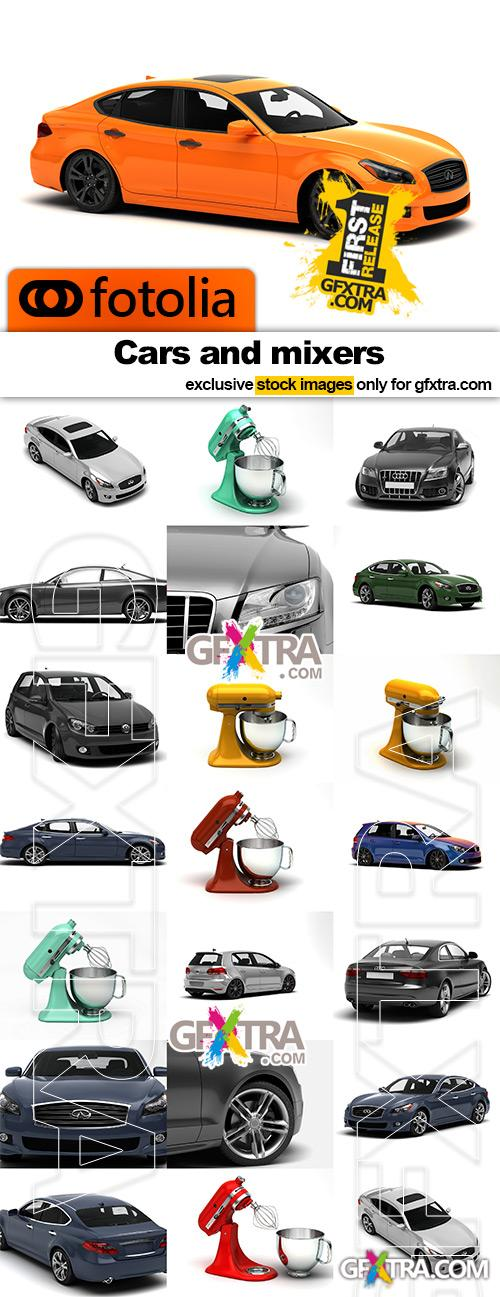 Cars and mixers isolated on white - 21x JPEGs