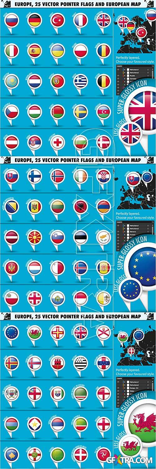 Vector pointer flags set 1 - Europe