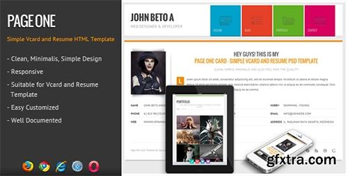 ThemeForest - Page One - Responsive Vcard Resume HTML Template - RIP