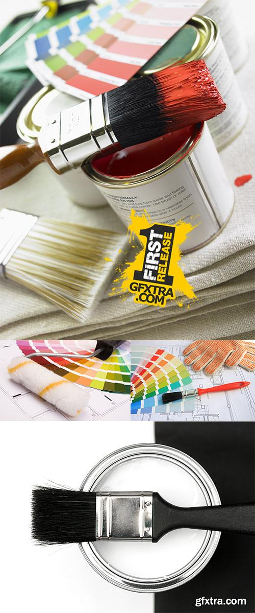 Stock Photo: Multi-colored paint and color palette