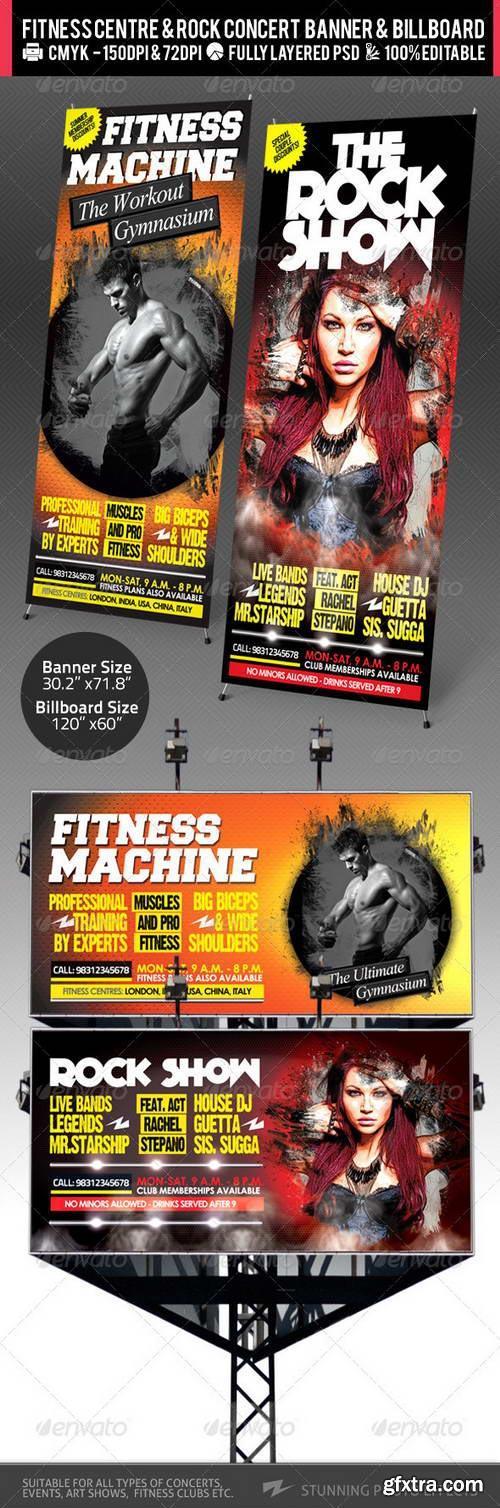 GraphicRiver - Rock Concert & Fitness Club Billboard+Banner PSD