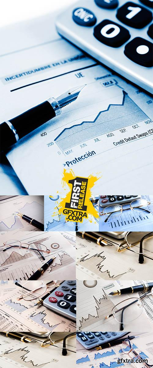 Stock Photo: Business objects, banking and finance