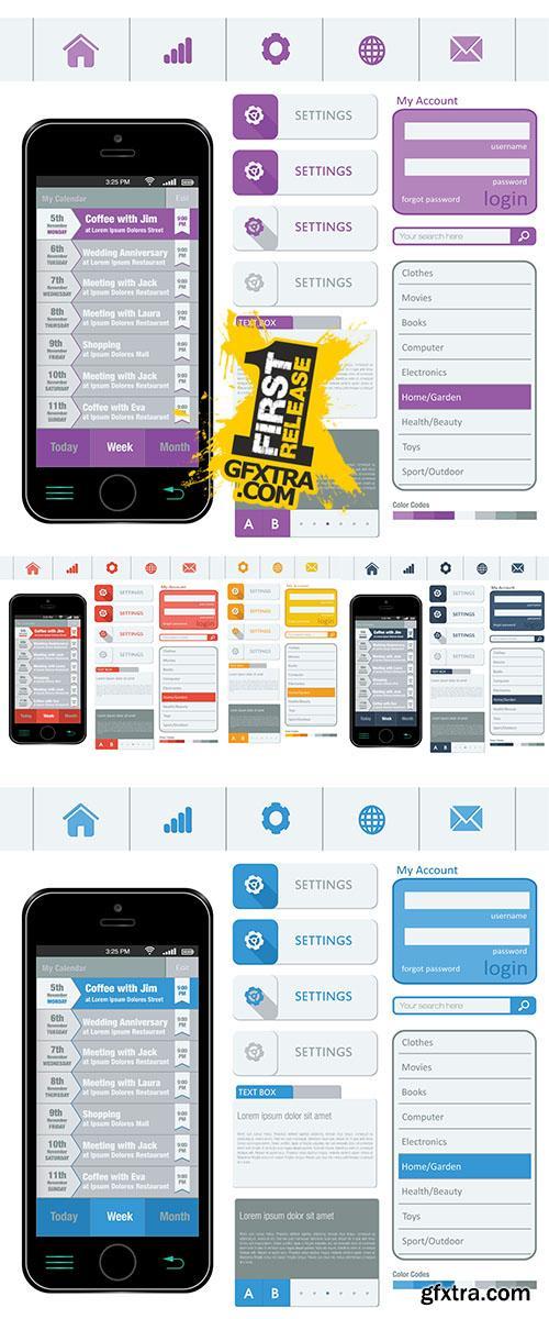 Stock: Interface elements using flat design