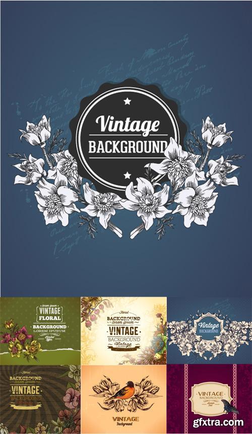 Vintage Floral Vector llystrations Set 3