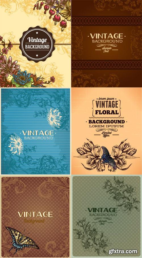 Vintage Floral Vector llystrations Set 4