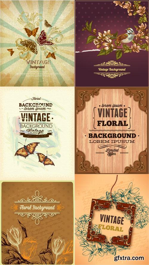 Vintage Floral Vector llystrations Set 5