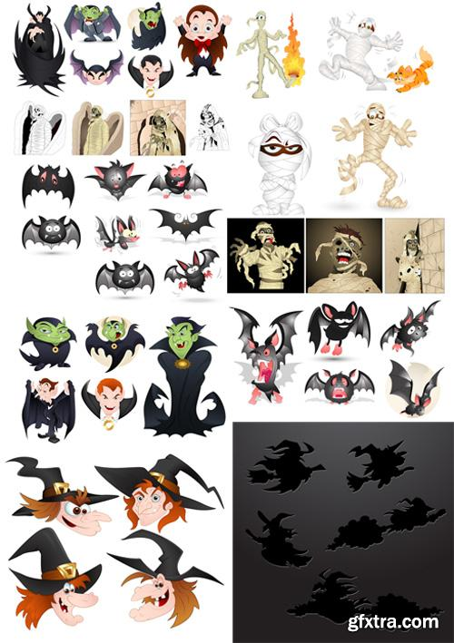 Halloween Vector Set - Dracula, Witches, Bats and Mummy