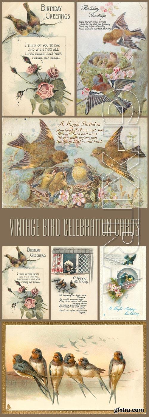 Vintage Birds Celebration Cards 88xJPGs