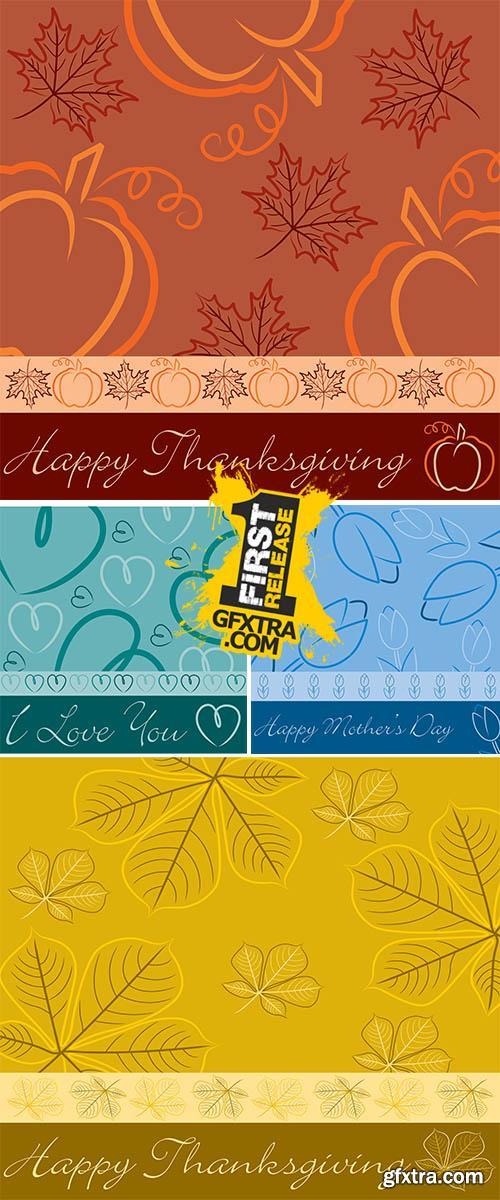 Stock: Hand drawn fall leaf Thanksgiving card