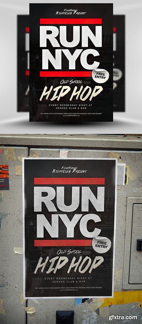 Run Nyc Hip Hop Flyer Template