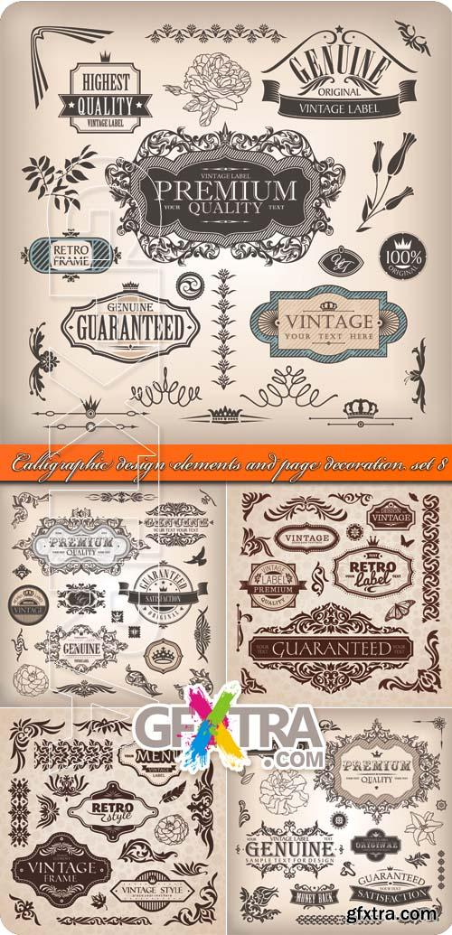 Calligraphic design elements and page decoration set 8