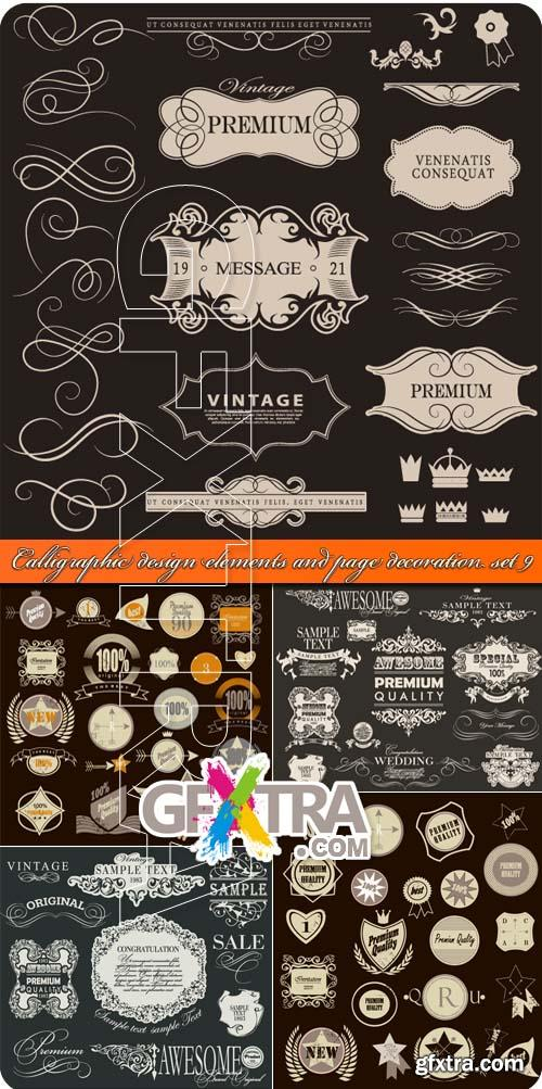 Calligraphic design elements and page decoration set 9