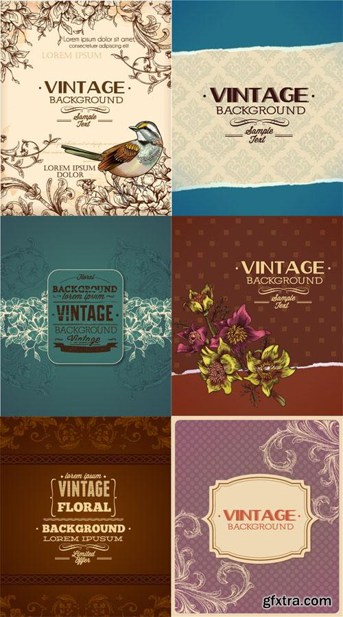 Vintage Floral Vector Illystrations Set 6