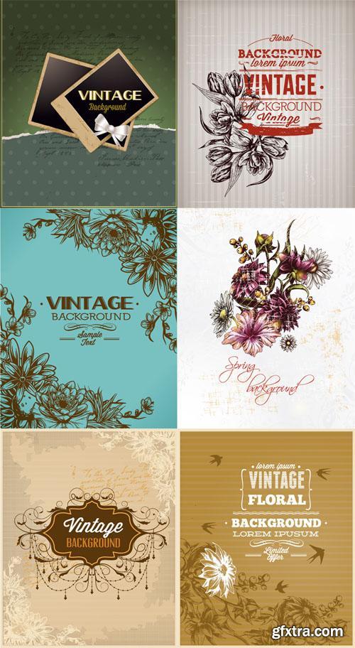 Vintage Floral Vector Illystrations Set 8