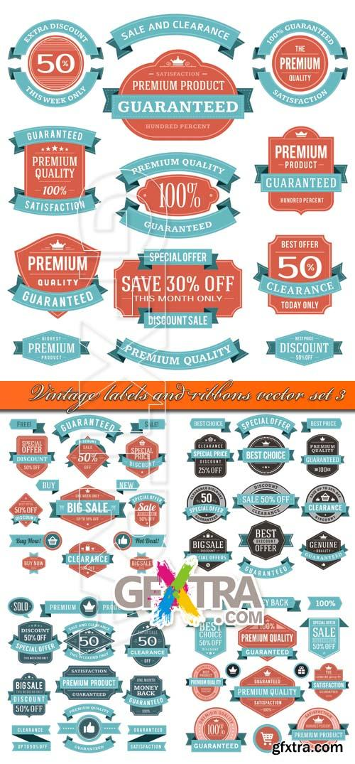 Vintage labels and ribbons vector set 3