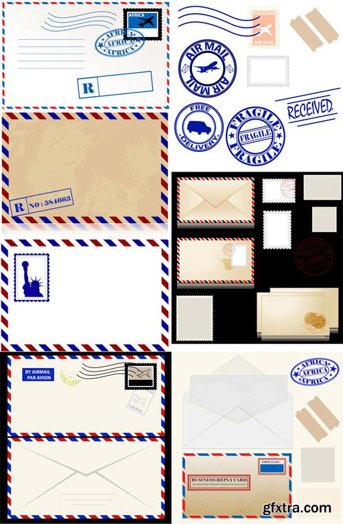 Vintage Envelope Tickets and Stamps Vectors