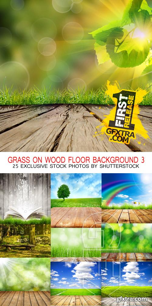 Amazing SS - Grass on wood floor background 3, 25xJPGs
